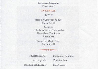 Mozart programme